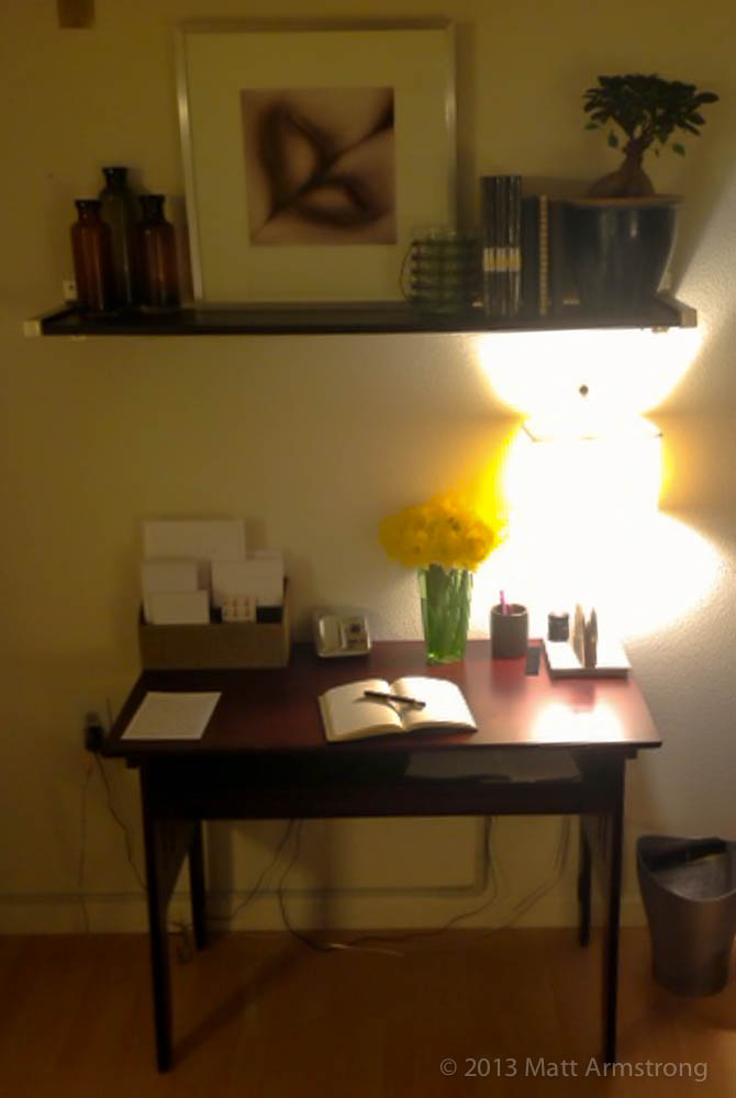 The writing desk I have set up in my room...all thanks to the pens.